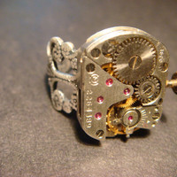 Steampunk Watch Movement Ring with Exposed Gears (581)