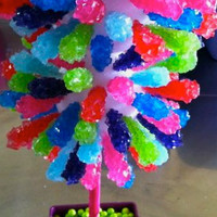 DOUBLE Rainbow Rock Candy Centerpiece Topiary Tree, Candy Buffet Decor, Candy Arrangement Wedding, Mitzvah, Party Favor,