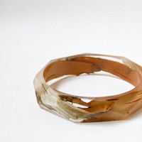Birch bark eco resin bangle with polygon facets by RosellaResin