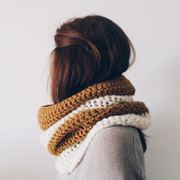 Circle Scarf White and Copper Crochet Cowl Chunky Neckwarmer