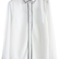 Contrast Embroidered Crepe Shirt