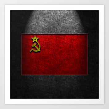 USSR Flag Stone Texture Art Print by The Learning Curve Photography