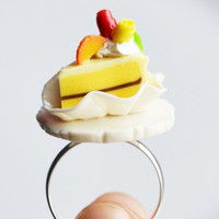 Miniature Cake Ring, Yellow, Fimo, Polymer Clay