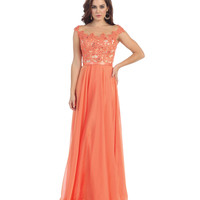Coral Pink Lace Bodice Gown Prom 2015