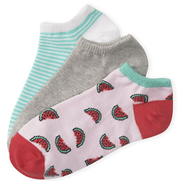 Aeropostale  3-Pack Watermelon, Stripe and Solid Ped Socks