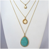 Turquoise Crystal Wave Layered Necklace - Turquoise Crystal Wave Layered Necklace