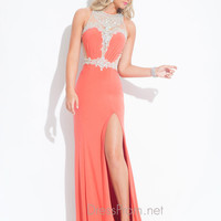 Sheer And Beaded Back With High Slit Prom Dress By Rachel Allan 6855