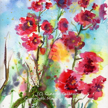 Rose Mallow Flowers Pink Lavatera Watercolor ORIGINAL Painting by Ginette