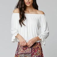 LA Hearts Off Shoulder Top - Womens Tee - White