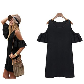Women Cotton Cute Strap Loose Vest Dress Knitting T-shirt Blouse
