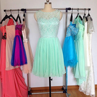 Lace Bridesmaid Dress Mint Bridesmaid Dresses Short Straps V-back Chiffon Prom Dress Lace Wedding Party Dress