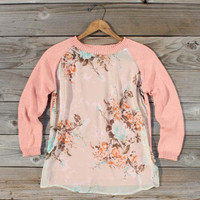 Library Card Sweater in Pink, Sweet Bohemian Clothing