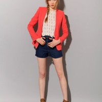Coral blazer SOLD OUT [Bec4201] - &amp;#36;144 : Pixie Market, Fashion-Super-Market