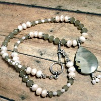 Dove Gray and Blush Pink Crystal Necklace with Artistic Jasper Pendant. Great for #Autumn