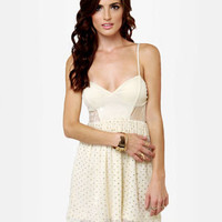Pretty Cream Dress - Glitter Dress - Lace Dress - $46.00