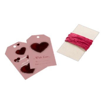Tiled Mosaic Heart (Dark Red) Pack Of Gift Tags