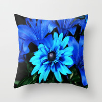 Electric Blue Flowers Throw Pillow by Leatherwood Design