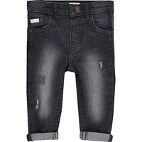 River Island Mini boys dark grey rip jeans