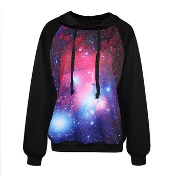 Voglee- Fashion Digital Print Finn Autumn Winter Hooded Sweater (purple galaxy)