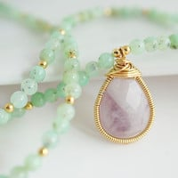 Chrysoprase Necklace - Chrysoprase Necklace with Amethyst Pendant - Purple and Green Necklace - Bezel Set Necklace