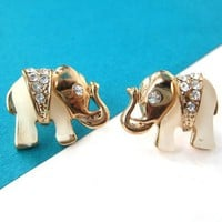 Small Elephant Animal Stud Earrings in Gold with Rhinestones