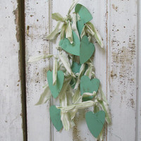 Metal green heart garland shabby cottage chic Saint Patrick Day or Valentines Day hanging home decor anita spero design
