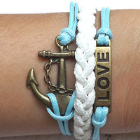 leather  bracelet marine loves Anchor  bracelet