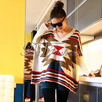 New Womens Batwing Sleeve Jumpers Casual Loose V-neck Sweater Pullover Ponchos