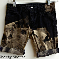 Bermuda Shorts Mid Waisted Black Bleached Shorts Size 0-1