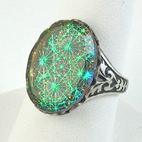 Vintage Green Starburst Ring by NicolettesJewelry on Etsy