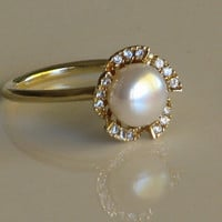 Pearl of Diamonds flower ring 14Karat by nuritdesign on Etsy