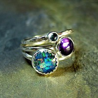 Sterling Silver Stacking Rings Opal Amethyst by LavenderCottage
