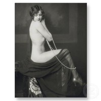 Vintage Naughty French Pin Up Girl Photograph Post Card from Zazzle.com