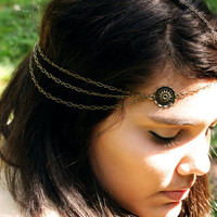 Chain Headpiece Headband Circle Charm 3 Drape Bronze Chain Gypsy Bohemian Hipster Boho Jewelry