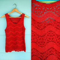 1990s. sheer red lace tank. s-m