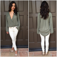 Wrapped in Love Blouse - Olive