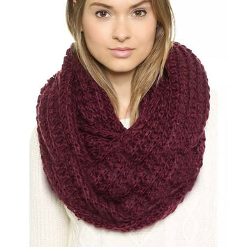 Chunky Braid Infinity Scarf in Red - Wine-Red / One