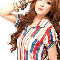 Fashion Korean Style Stripes Shirt: tidestore.com