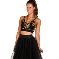 Promo-Black Crochet Faux Leather Bustier Crop Top
