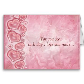Pink Heart And Roses Greeting Card