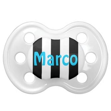Black and White Stripes - Name Pacifier