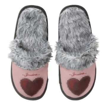 Tiled Mosaic Heart (Dark Red) Pair Of Fuzzy Slippers