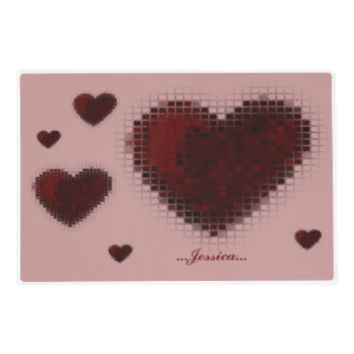 Tiled Mosaic Heart (Dark Red) Laminated Place Mat