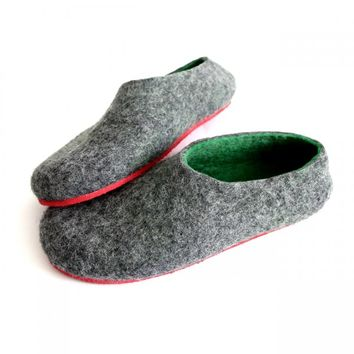 Wool Shoes Green Gray Red