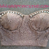 Studded Bustier Top SMALL Nude Lace SILVER Studs