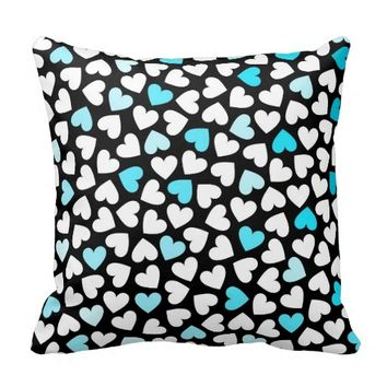 Hearts #7 - Black, White And Blue Pillow