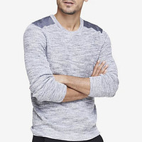 SPACE DYED CROSSOVER NECK HOODED SWEATER from EXPRESS