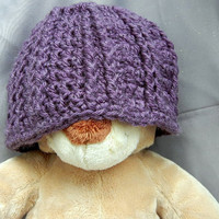 Crochet Kids Beanie Smoky Plum Purple Hat