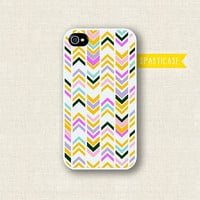 iPhone Case for iPhone 4 or 4S -- Aztec Geometric Tribal Pink Orange White - Plastic or Silicone Rubber Case