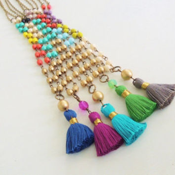 Colorful Tassel Necklaces Cotton Tassels Beaded Necklaces Bohemian Boho Style Statement Necklace Long Beaded Necklace Long Tassel Necklace